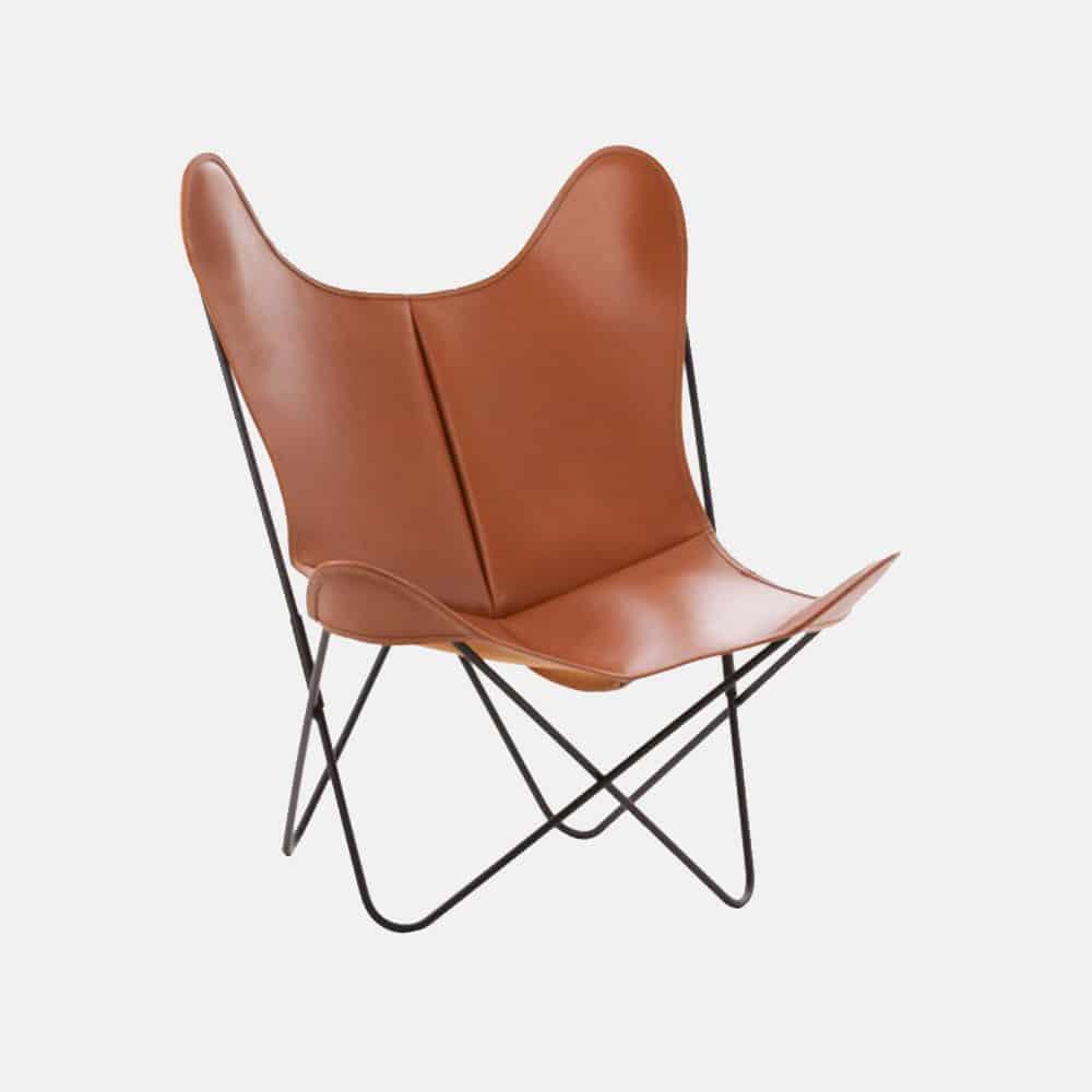 Sedie Pieghevoli In Cuoio.Sedia Mod Butterfly In Cuoio E Acciaio Design Alpino