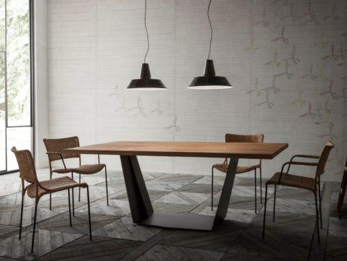 Tavolo In Ferro Brunito E Legno : Tavolo elite to be in legno e ferro mod ala jr b design alpino