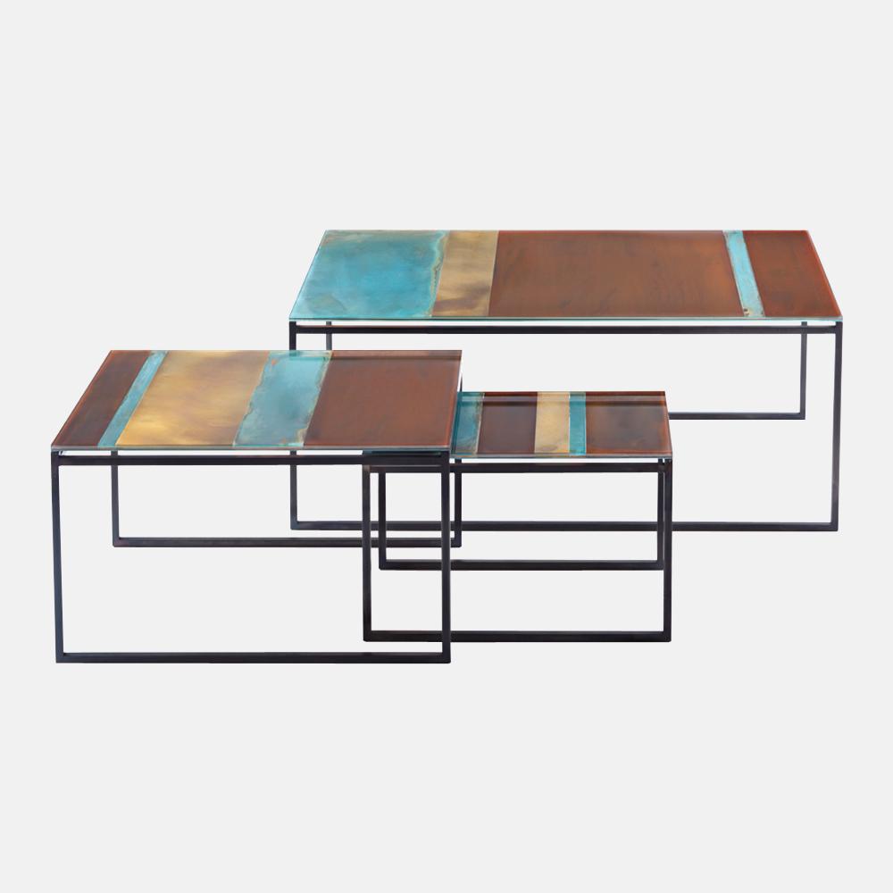 Tavolino in vetro e metallo de castelli mod terramare - Tavolini vetro e ottone ...