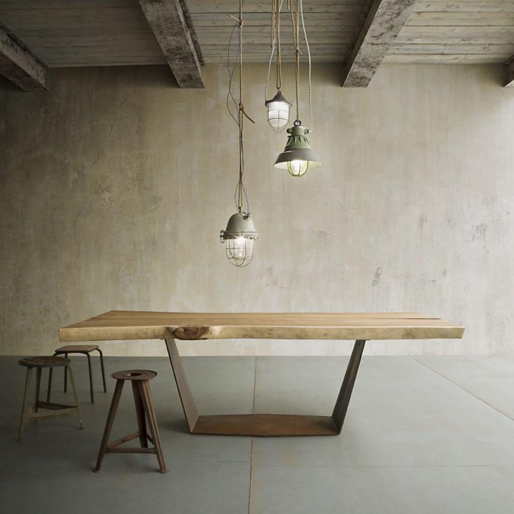 Tavolo in legno e ferro mod ala design alpino - Tavoli in legno e ferro ...
