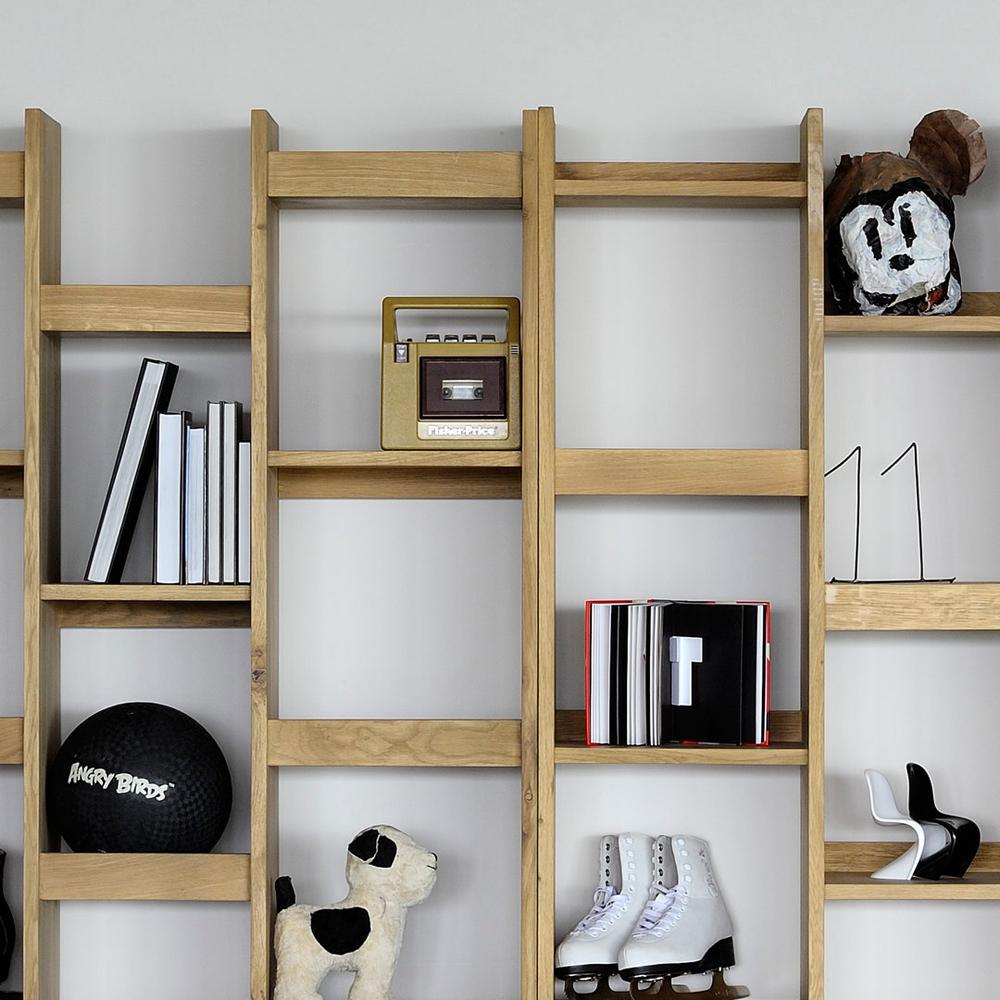 Libreria in rovere con vani a giorno mod. Mozaik - Design Alpino