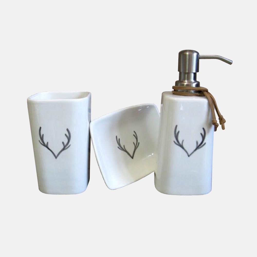 Accessori bagno con corna mod. Isere - Design Alpino