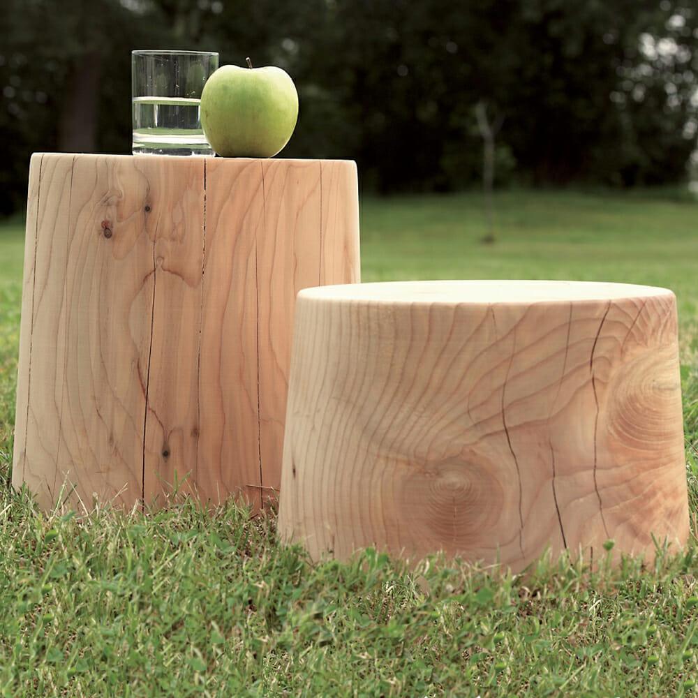 Tavolino Riva1920 in legno di cedro mod. Legno vivo - Design Alpino