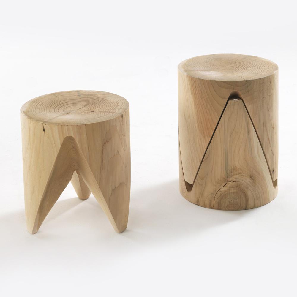 Tavolino/sgabello Riva1920 collezione Cedro mod. J+I Zig+Zag