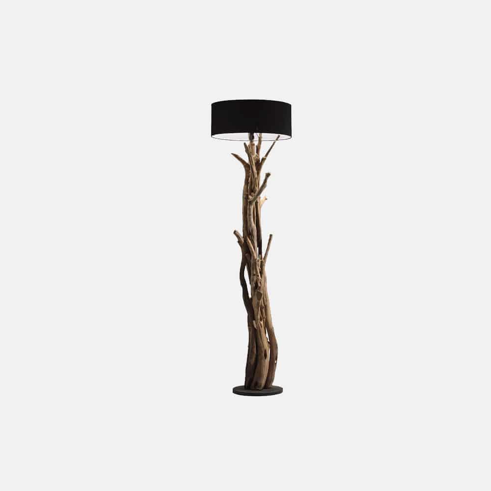 Lampada da terra in legno con paralume mod.Teak - Design Alpino
