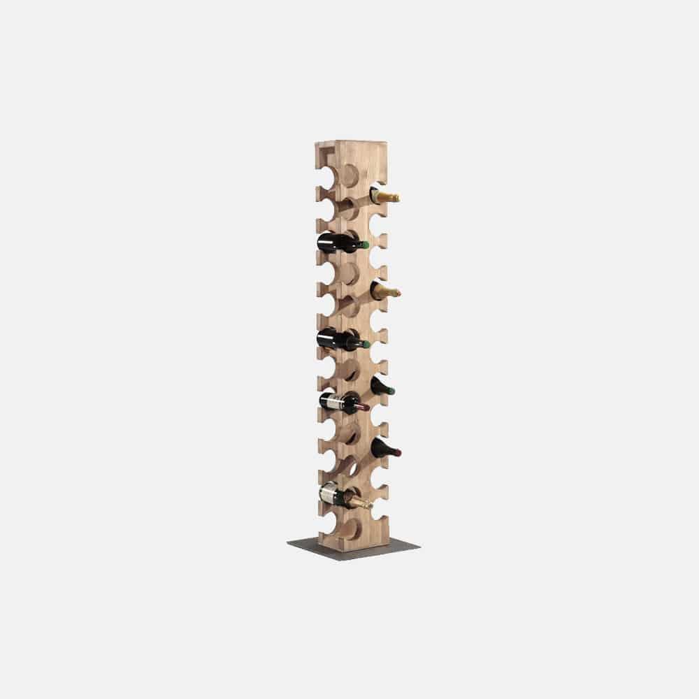 Portabottiglie in legno e ferro