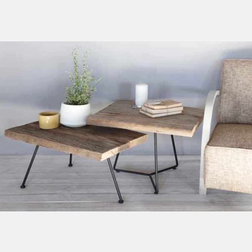 Tavolino in legno e ferro con gambe unite mod olmo antico design alpino - Tavoli in legno con gambe in ferro ...