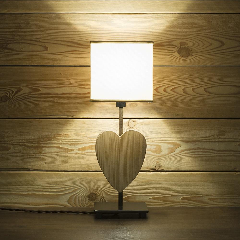 Lampada da tavolo in acciaio e legno con paralume mod toy for Tavolo legno acciaio