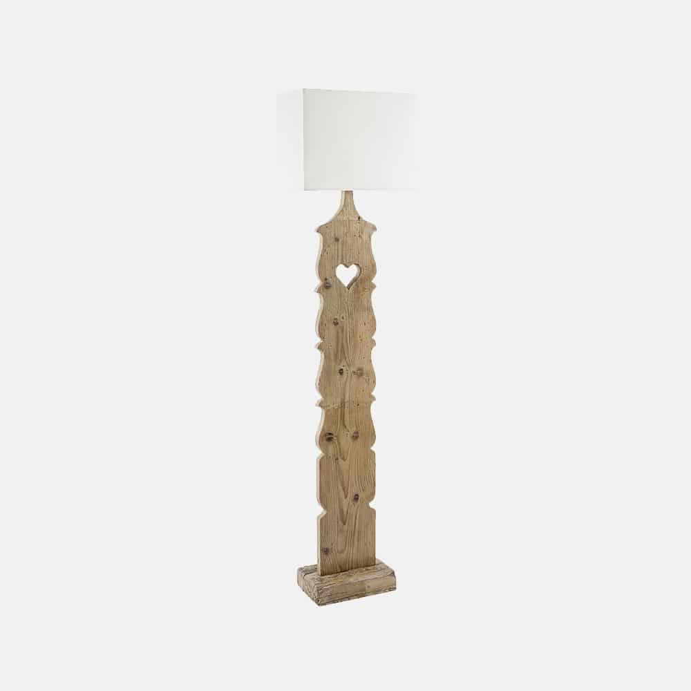 Lampada da terra in legno con paralume mod. Fence - Design Alpino