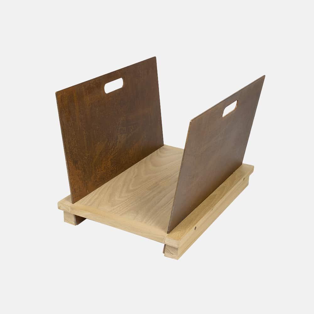 Porta riviste in legno e ferro mod essence design alpino for Riviste design