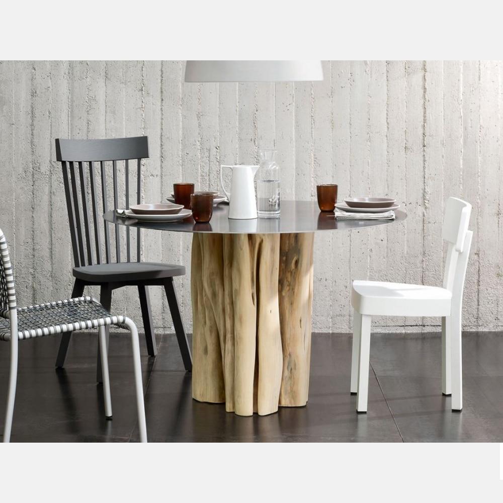 Tavolo tondo in legno mod. Brick